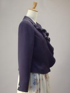 さくら工房 絹服(kimono-fuku) フリルカラーオーダージャケット 白地花柄小紋スカート 横