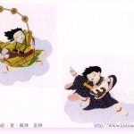 さくら工房 小絹布(koginu)ハガキ 風神雷神